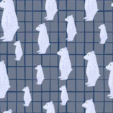 Random zoo seamless pattern with wild light blue polar bear silhouettes. Gray checkered background. Simple style. Designed for fabric design, textile print, wrapping, cover. Vector illustration. 矢量图像