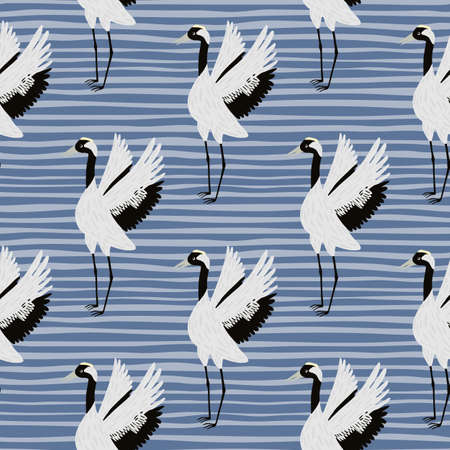 Cartoon japanese seamless pattern with cartoon crane birds silhouettes. Blue striped background. Childish print. Designed for fabric design, textile print, wrapping, cover. Vector illustration.