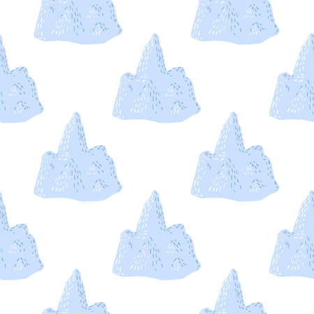 Isolated seamless doodle pattern with simple decorative blue iceberg ornament. White background.