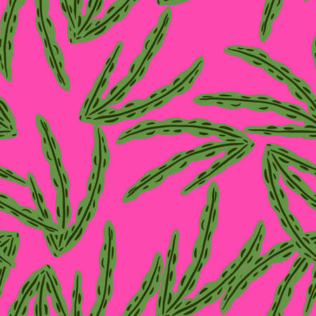 Abstract doodle creative seamless pattern with green random seaweed shapes print. Pink background. Perfect for fabric design, textile print, wrapping, cover. Vector illustration.