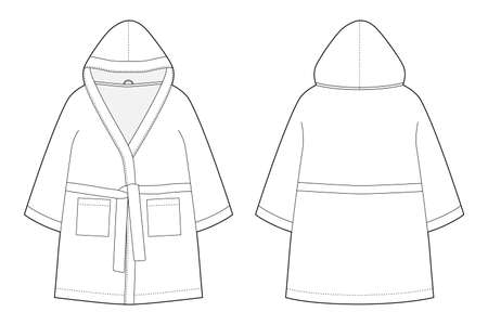 Children's bathrobe technical sketch isolated on white background. Hooded bathrobe. Flat garment apparel template. Front and back views. Vector illustration