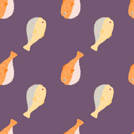 Minimalistic style marine wildlife seamless pattern with cute orange fugu fish ornament. Purple pastel background. Perfect for fabric design, textile print, wrapping, cover. Vector illustration. 일러스트