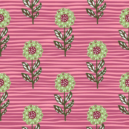 Spring nature seamless pattern with light green folk flowers ornament. Pink striped background. Hand drawn style. Great for fabric design, textile print, wrapping, cover. Vector illustration. 일러스트