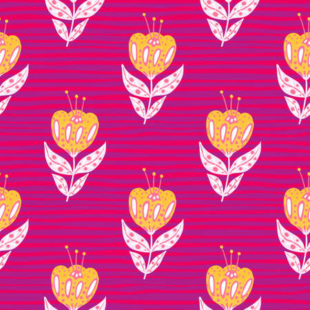 Vintage seamless doodle pattern with orange colored folk flowers print. Pink striped background. Ethnic style. Designed for fabric design, textile print, wrapping, cover. Vector illustration.