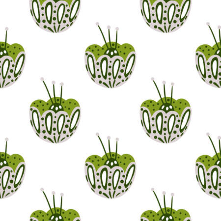 Isolated botanic seamless pattern with bright green folk flower bud ornament. Contoured print. Designed for fabric design, textile print, wrapping, cover. Vector illustration. 일러스트
