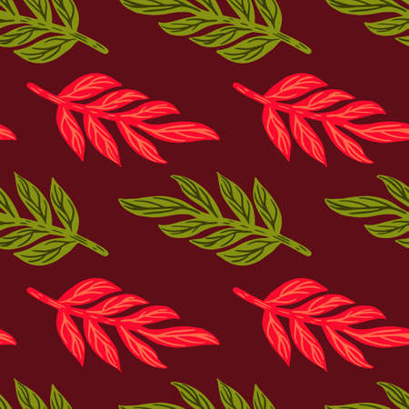 Foliage abstract seamless pattern with pink and green colored leaves branches silhouettes. Maroon background. Designed for fabric design, textile print, wrapping, cover. Vector illustration. 일러스트