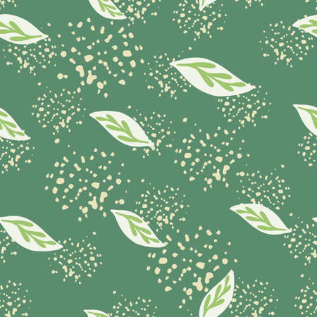 Abstract nature decorative seamless pattern with random leaves silhouettes. Turquoise background with splashes. Perfect for fabric design, textile print, wrapping, cover. Vector illustration.