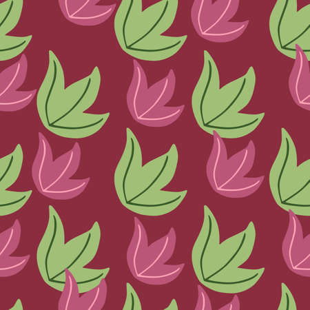 Seamless pattern with colored leabes bush print. Purple background. Perfect for fabric design, textile print, wrapping, cover. Vector illustration.