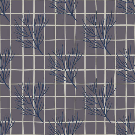 Decorative seamless pattern with hand drawn navy blue tree branches print. Gray background with check. Perfect for fabric design, textile print, wrapping, cover. Vector illustration. 일러스트
