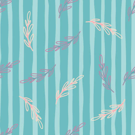 Tropic bright abstract seamless pattern with pink random branches ornament. Blue striped background. Designed for fabric design, textile print, wrapping, cover. Vector illustration.