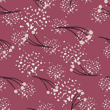 Bloom seamless pattern with berry branch doodle ornament. Dark pink background with splashes. Decorative backdrop for fabric design, textile print, wrapping, cover. Vector illustration. 일러스트