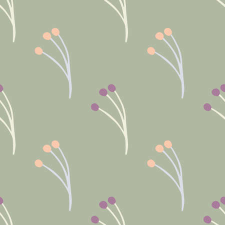 Nature seamless pattern with berry branches ornament. Light pale green background. Minimalistic style. Decorative backdrop for fabric design, textile print, wrapping, cover. Vector illustration. 일러스트