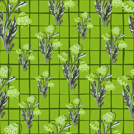 Random seamless pattern with flowers bouquet silhouettes elements. Green checkered background. Doodle print. Perfect for fabric design, textile print, wrapping, cover. Vector illustration.