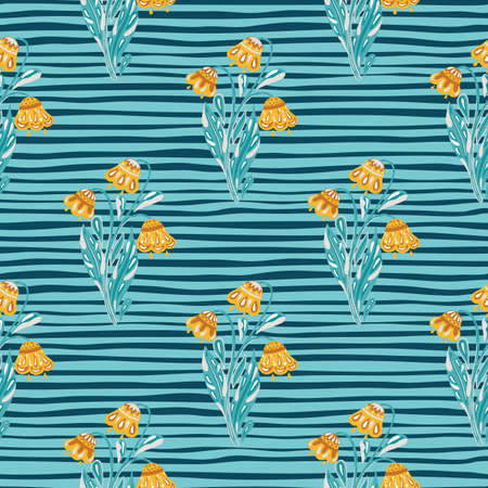 Orange bright flowers bouquet seamless pattern in hand drawn style. Striped blue background. Scrapbook print. Perfect for fabric design, textile print, wrapping, cover. Vector illustration.