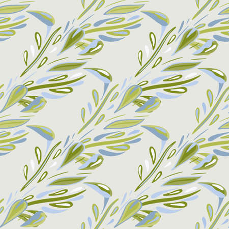 Green olive foliage silhouettes seamless doodle pattern in hand drawn style. Gray background. Doodle backdrop. Designed for fabric design, textile print, wrapping, cover. Vector illustration.