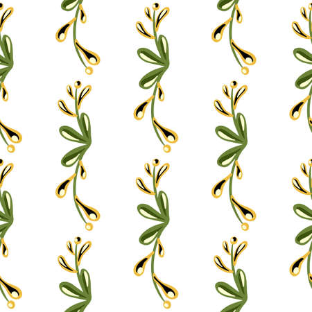 Isolated seamless pattern with green doodle floral branches shapes. White backround. Nature botany artwork. Designed for fabric design, textile print, wrapping, cover. Vector illustration.
