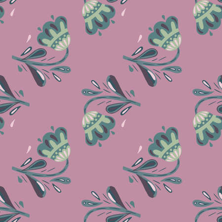 Pale tones seamless pattern with hand drawn green folk flowers ornament. Pastel purple background. Decorative backdrop for fabric design, textile print, wrapping, cover. Vector illustration