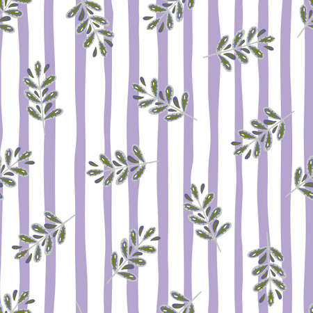 Decorative seamless pattern with little random leaves branches ornament. White and purple striped background. Designed for fabric design, textile print, wrapping, cover. Vector illustration.