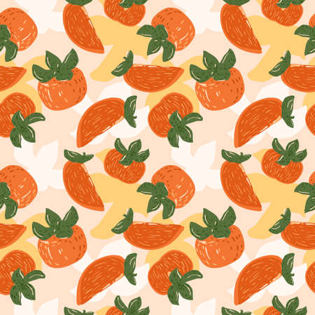 Seamless pattern persimmons on yellow background. Beautiful hand drawn fruits for design fabric. Abstract template of fruit orange colors. Colorful persimmon vector illustration.