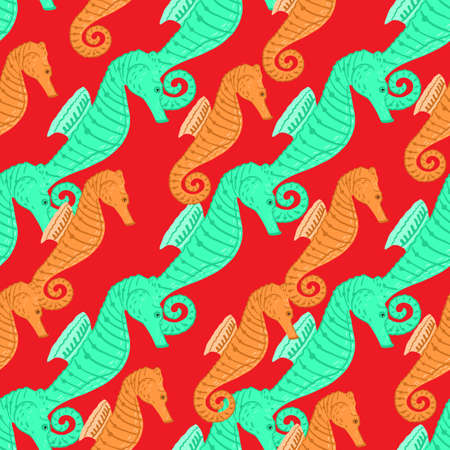 Decorative seamless pattern with bright turquoise and orange seahorse ornament. Red background. Designed for fabric design, textile print, wrapping, cover. Vector illustration.