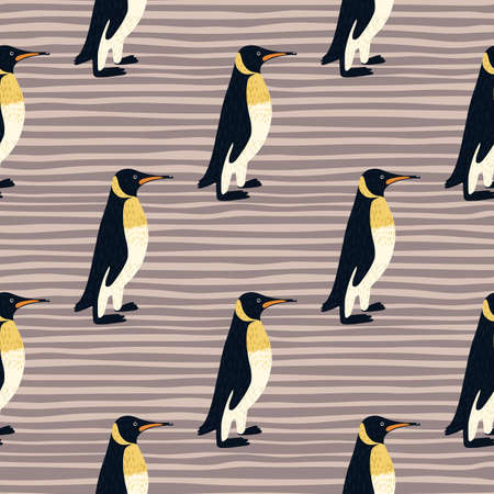 Cartoon kids penguin seamless pattern in hand drawn style. Purple pale striped background. Zoo backdrop. Decorative print for fabric design, textile print, wrapping, cover. Vector illustration.