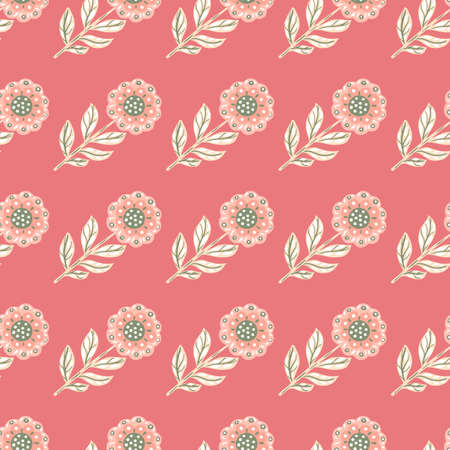 Pastel tones cute seamless pattern with light folk flowers elements ornament. Pink background. Doodle artwork. Great for fabric design, textile print, wrapping, cover. Vector illustration.