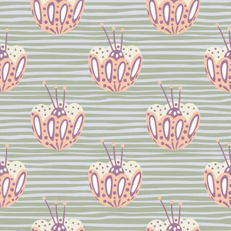 Bloom seamless abstract pattern with light pink folk flower bud ornament. Gray striped background. Designed for fabric design, textile print, wrapping, cover. Vector illustration.