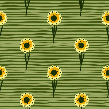 Scrapbook botanic seamless pattern with hand drawn yellow simple flowers print. Green striped background. Designed for fabric design, textile print, wrapping, cover. Vector illustration. 일러스트