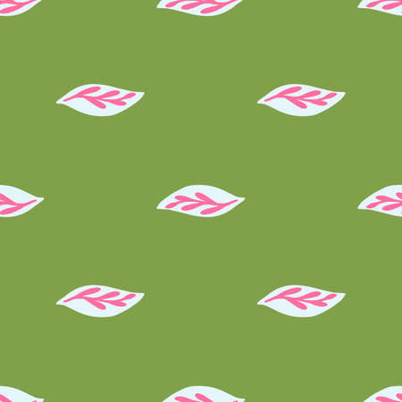 Decorative seamless pattern with pink leaf ornament. Green background. Spring minimalistic foliage print. Perfect for fabric design, textile print, wrapping, cover. Vector illustration.