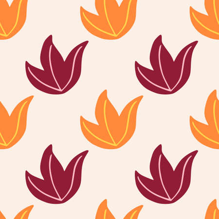 Minimalistic style seamless pattern with purple and orange folaige bushes. Light background. Decorative backdrop for fabric design, textile print, wrapping, cover. Vector illustration.