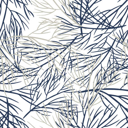 Isolated decorative nature seamless pattern with navy blue contoured tree branches silhouettes. White background. Perfect for fabric design, textile print, wrapping, cover. Vector illustration.