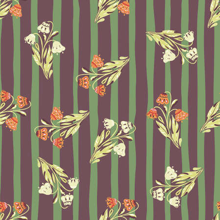 Random seamless pattern with doodle flowers bouquet print. Striped purple and green background. Perfect for fabric design, textile print, wrapping, cover. Vector illustration. 일러스트