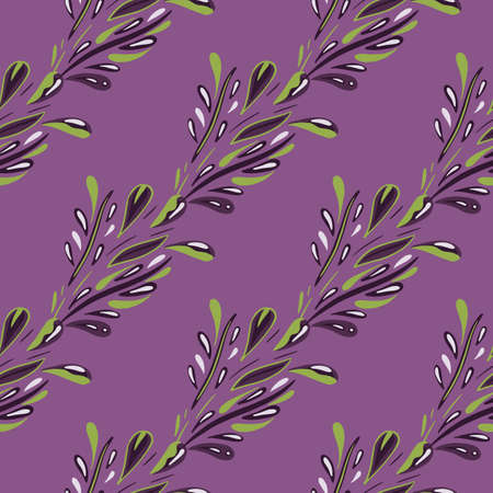 Decorative seamless pattern with abstract foliage doodle print. Purple bright background. Botanic design. Designed for fabric design, textile print, wrapping, cover. Vector illustration. 일러스트