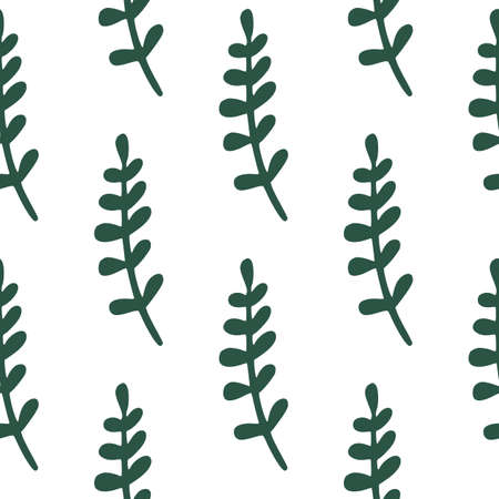 Seamless isolated doodle pattern with simple green tropical branches shapes. White background. Decorative backdrop for fabric design, textile print, wrapping, cover. Vector illustration. 일러스트