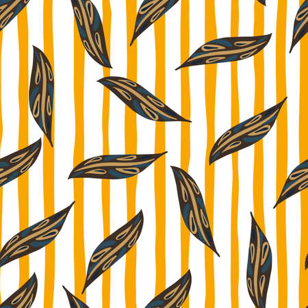 Random foliage seamless pattern with leaves print. Striped background. Hand drawn doodle print. Decorative backdrop for fabric design, textile print, wrapping, cover. Vector illustration 일러스트