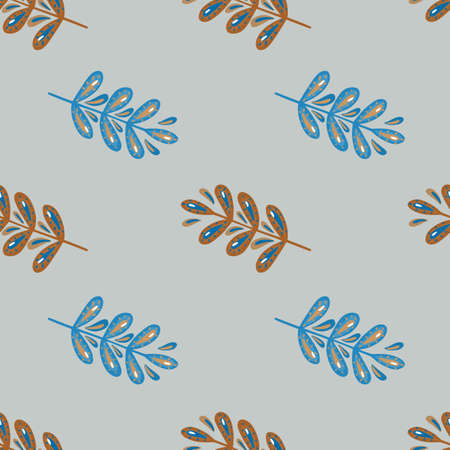 Decorative seamless nature foliage pattern with blue colored leaf branches ornament. Gray background. Designed for fabric design, textile print, wrapping, cover. Vector illustration.