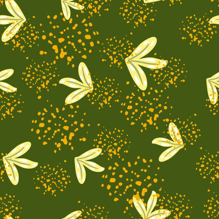 Random seamless pattern with hand drawn simple leaf ornament. Green background with splashes. Perfect for fabric design, textile print, wrapping, cover. Vector illustration. 일러스트