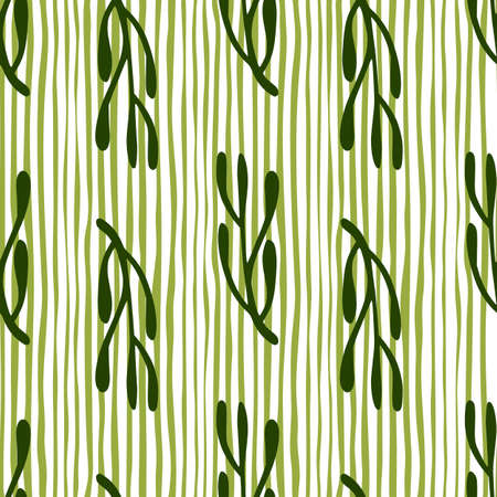 Nature seamless doodle pattern with dark green branches elements. Striped background. Doodle vintage print. Great for fabric design, textile print, wrapping, cover. Vector illustration.
