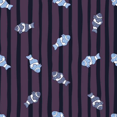 Dark seamless aquatic pattern with blue random clown fish ornament. Purple striped background. Simple style. Designed for fabric design, textile print, wrapping, cover. Vector illustration.