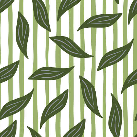 Botanic seamless pattern with green random foliage leaves elements. Striped background. Doodle nature print. Perfect for fabric design, textile print, wrapping, cover. Vector illustration.