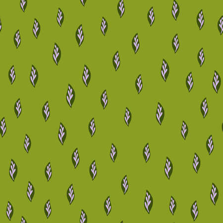 Botany seamless pattern with little leaves garden ornament. Green background. Hand drawn nature artwork. Perfect for fabric design, textile print, wrapping, cover. Vector illustration.
