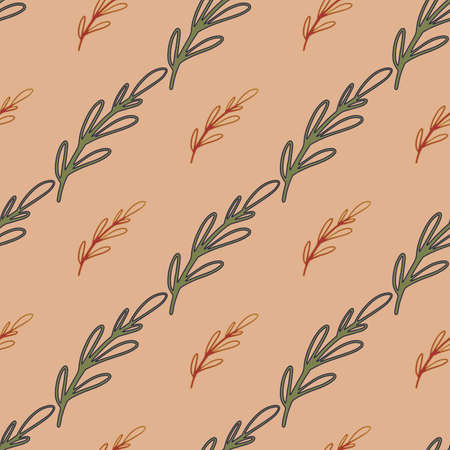 Outline branches seamless pattern in hand drawn nature style. Beige background. Floral simple backdrop. Designed for fabric design, textile print, wrapping, cover. Vector illustration.