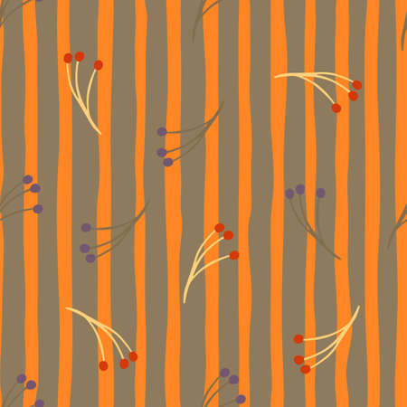 Scrapbook seamless pattern with random berry branches ornament. Gray and orange striped background. Decorative backdrop for fabric design, textile print, wrapping, cover. Vector illustration. 일러스트