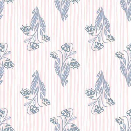 Scrapbook seamless pattern with pastel tones blue flowers bouquet print. Light striped background. Perfect for fabric design, textile print, wrapping, cover. Vector illustration.