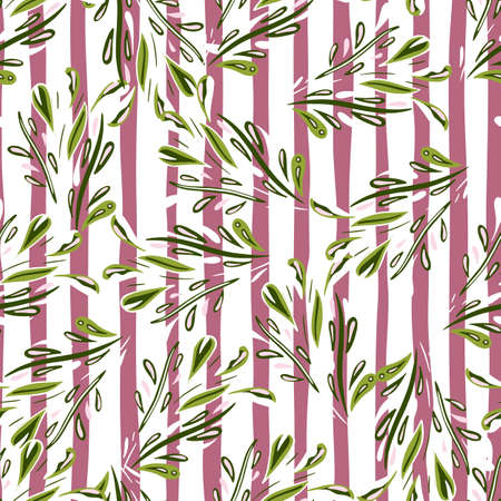 Random floral seamless pattern with doodle foliage shapes print. White and pink striped background. Designed for fabric design, textile print, wrapping, cover. Vector illustration.