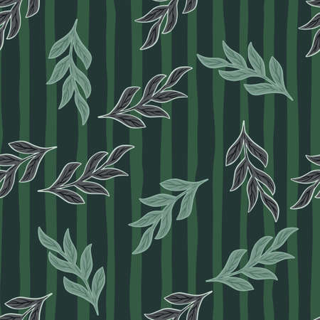 Random dark herbal seamless pattern with outline branches elements. Green striped background. Simple style. Designed for fabric design, textile print, wrapping, cover. Vector illustration.