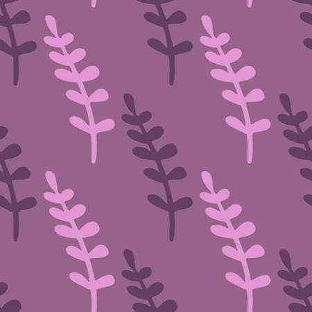 Exotic seamless pattern in purple violet palette with simple branches ornament. Hand drawn floral ornament. Decorative backdrop for fabric design, textile print, wrapping, cover. Vector illustration. 일러스트