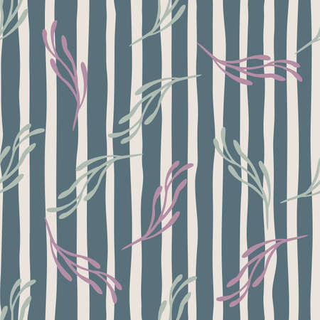 Random seamless pattern with contoured branches minimalistic ornament. Striped blue background. Designed for fabric design, textile print, wrapping, cover. Vector illustration.
