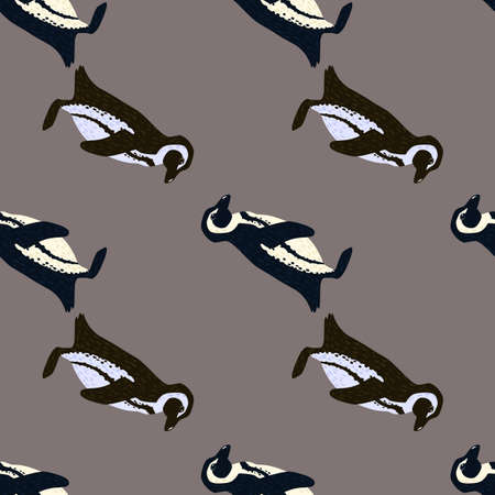 Minimalistic style seamless pattern with wild animals penguin print. Gray background. Doodle print. Perfect for fabric design, textile print, wrapping, cover. Vector illustration. 일러스트