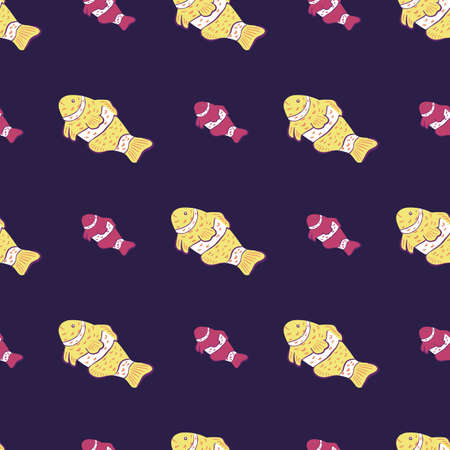 Yellow and purple colored clown fish abstract ornament seamless pattern. Dark navy blue background. Designed for fabric design, textile print, wrapping, cover. Vector illustration. 일러스트
